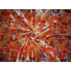 Heavy Silk Brocade bright orange metallic gold & royal blue/green