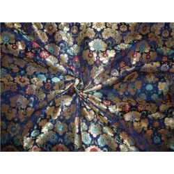 Heavy Silk Brocade Fabric deep blue turquoise metallic gold & green