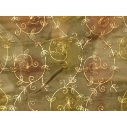Forest Green silk organza fabric with Embroidery