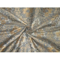 "Silk Brocade Fabric dusty blue x gold  color 44"" BRO606[1]"