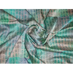 Lycra Satin print fabric Green x grey color 44'' wide