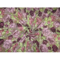heavily embroidered net fabric light olive x multi color 44''wide B2#89