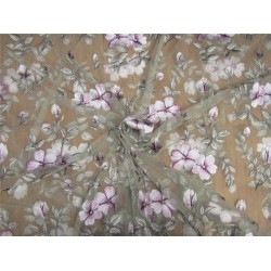 heavily embroidered net fabric sand color 44'' wide B2#89