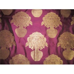 "Brocade fabric AUBERGINE /METALLIC GOLD  44""wide Bro620[2]"