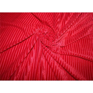 Knitted velvet stripe fabric RED color  60'' wide FF6[4]