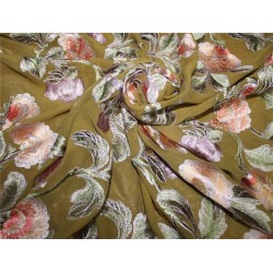 """Georgette Heavily Embroidered Khaki Green /Red/Pink/Lavender 44""""Wide"""