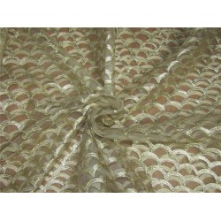 Pastel Color Net With Gold Embroidery Fabric 44'' Wide