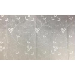 100 % Cotton organdy fabric floral ivory embroidered~single length 2.70 yards