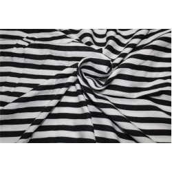 Cotton Satin / Rayon Printed fabric black x ivory color 44'' wide