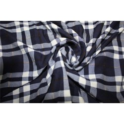 Rayon Plaids Fabric Dark navy blue and ivory color 54''wide