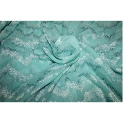 """100% silk georgette heavily embroidered sea green & blue  44""""wide"""