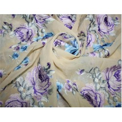 """100% silk georgette heavily embroidered champagne /blue/lavender/brown44""""wide"""