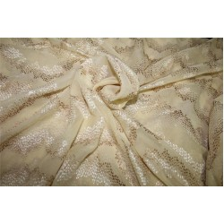 100% silk georgette heavily georgette embroidered champagne x brown color 44''