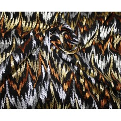 """100% silk georgette heavily embroidered black/gold/brown/silver 44""""wide"""