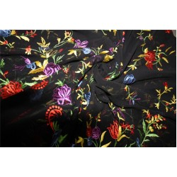 """100% silk georgette heavily embroidered black/red/green color 44""""wide"""
