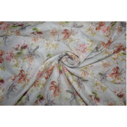 Cotton lawn digital printed fabric ivory color 44'' wide