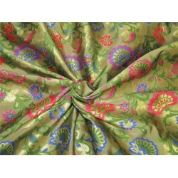 """Brocade fabric pink ,green and metallic gold color 44""""wide bro608[3]"""