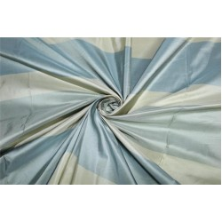 "SILK TAFFETA 3 color stripe shades of slate blue and cream TAFS154[1] 54"" wide sold by the yard"