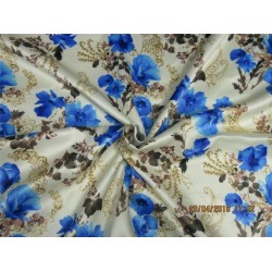 heavy polyester satin print blue floral print 58""