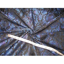 Silk Brocade Fabric irridescent blue x black 36''wide bro609[1]