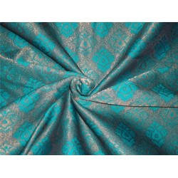brocade fabric kingfisher green and mettalic gold BRO548[3]
