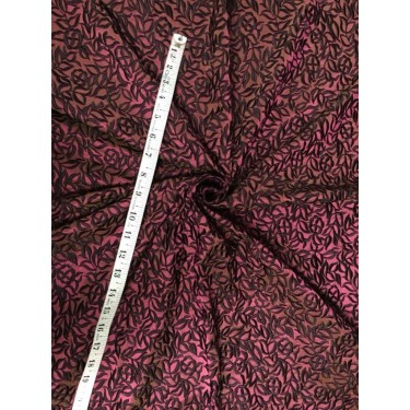 100% SILK   Dupion Fabric Embroidery Iridescent  pink x black color 54''DUP# E54[2]