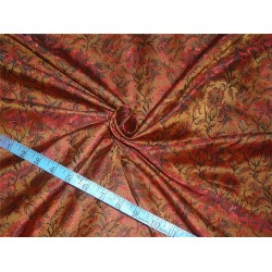"Silk Brocade Fabric  brown red and black 44""BRO549[4]"