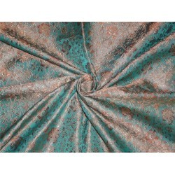 "BROCADE FABRIC Brown,sea green & Gold colour 44"" bro193[7]"