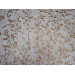 """Embroidered ivory with gold net 60"""" wide B2#94[2]"""
