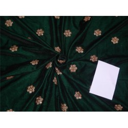 "Iridescent micro velvet embroidery dark green color 44"" wide"