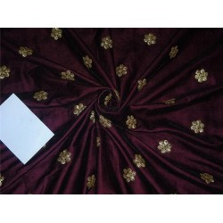 "Iridescent micro velvet embroidery Aubergine color 44"" wide"