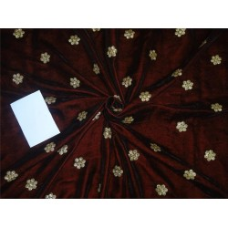 "Iridescent micro velvet embroidery maroon color 44"" wide"