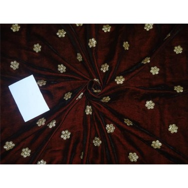 """Iridescent micro velvet embroidery maroon color 44"""" wide"""