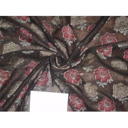 NOIL BROCADE B2#85[1] BLACK COLOR WITH RED AND GOLD FLOWERS