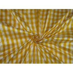 100%Silk Dupioni Fabric plaids yellow and white color 54'' width DUP#C98[2]