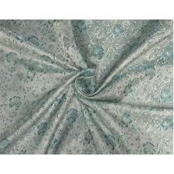 "Silk Brocade fabric Silver & Green 44""BRO549[2]"