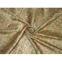 "Silk Brocade fabric beige pink and green 44"" Bro642[2]"