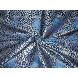 Heavy Brocade fabric Ink blue and metallic gold color 36''wide BRO646[1]