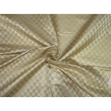 "Brocade fabric ivory x metallic gold color 44""wide BRO643[3]"