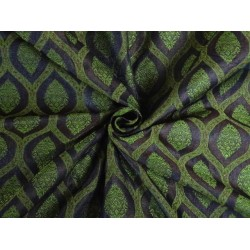 SILK BROCADE FABRIC GREEN MAROON AND ROYAL BLUE 44 INCHES