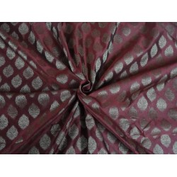 silk BROCADE FABRIC MAROON WITH METALLIC GOLD