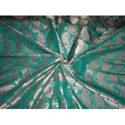 SILK BROCADE FABRIC PARROT GREEN WITH METALLIC GOLD