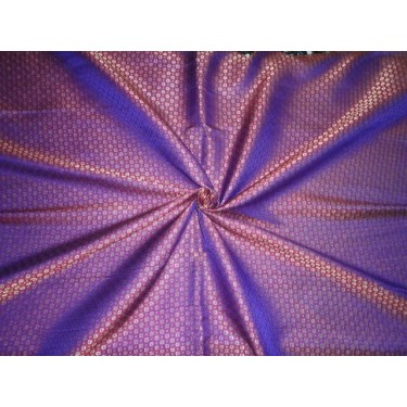 SILK BROCADE FABRIC PURPLE RED WITH METALLIC GOLD COLOR