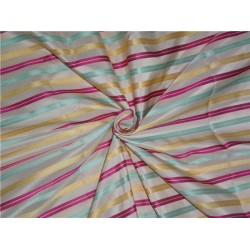 """SILK TAFFETA FABRIC MULTI COLOUR 54"""" WITH STRIPES-54"""" wide sold by the yard"""