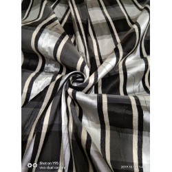 Silk Dupioni Fabric Plaids black grey and white  color 54'' wide DUP#C99[1]
