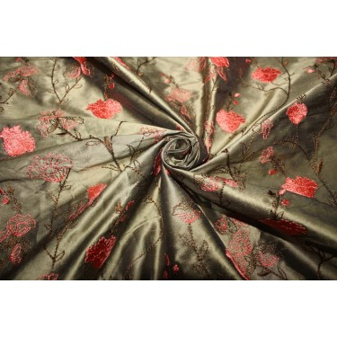 """100% SILK DUPION KHAKI GREEN WITH CORAL FLORAL EMBROIDERY 54""""DUPE59[1]"""