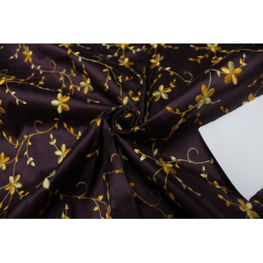 """100% SILK DUPION AUBERGINE  WITH GOLD FLORAL EMBROIDERY 54""""DUPE60[2]"""