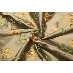 "100% SILK DUPION GOLDEN BROWN  WITH GOLD FLORAL EMBROIDERY 54""DUPE58[2]"