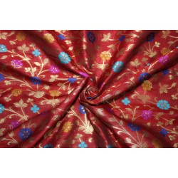 """Brocade Fabric RED WINE  x metallic gold color WITH MULTI COLOR FLOWERS  44"""" Bro685[1]"""