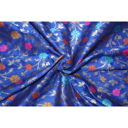 """Brocade Fabric INK BLUE  x metallic gold color WITH MULTI COLOR FLOWERS  44"""" Bro685[2]"""